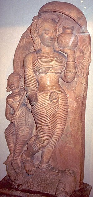Ganges in Hinduism - Gupta era terracotta of Ganga found at Ahichchhatra, UP now in National Museum, New Delhi.