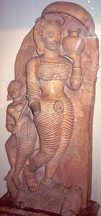 Ganges in Hinduism - Gupta era terracotta of Ganga found at Ahichchhatra, UP now in National Museum, New Delhi.