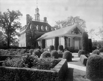 Governor's Palace (Williamsburg, Virginia) - View of the Governor's Palace and gardens (shortly after its reconstruction), ca. 1935, Frances Benjamin Johnston.