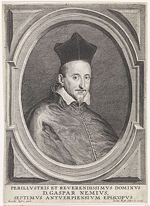 Gaspard Nemius - Portrait of Gaspard Nemius, engraved by Jacob Neefs after Gerard Seghers