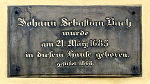 Bach House (Eisenach) - Memorial plate at the Bach House