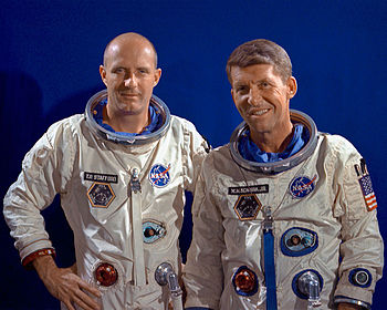 English: Astronauts Thomas P. Stafford (left),...