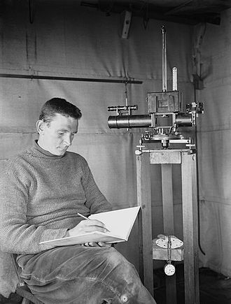 George Simpson (meteorologist) - George Simpson making scientific observations in the magnetic hut during the Terra Nova Expedition.