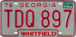 Georgian state license plate, 1979–1980 series with 1979 sticker (Whitfield County).png