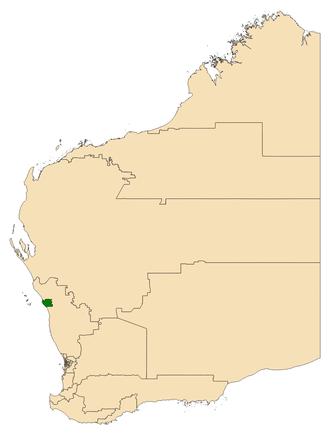 Electoral district of Geraldton - Location of Geraldton (dark green) in Western Australia