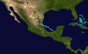 Tropical Storm Gert (2005) - Image: Gert 2005 track