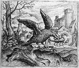The Crow and the Snake - The fable of the Raven and the Scorpion engraved by Marcus Gheeraerts