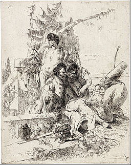 Giambattista Tiepolo - Punchinello gives counsel - from the series 'Scherzi di Fantasia' - Google Art Project