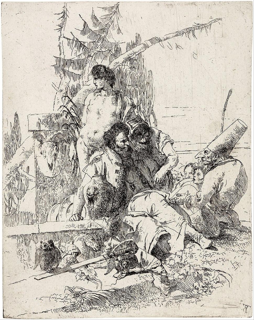 Giambattista Tiepolo - Punchinello gives counsel - from the series 'Scherzi di Fantasia' - Google Art Project