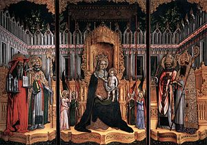 Giovanni d'Alemagna - Madonna and Child with Saints Gregory and Jerome (left), Ambrose and Augustine (right) Triptych by Giovanni d'Alemagna and Antonio Vivarini (1446), Gallerie dell'Accademia