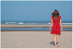 Girl in red on the beach watch far.jpg