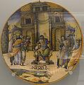 Gironimo Tomasi - Plat - Aaron changeant son bâton en serpent devant Pharaon (Lyon, majolique, 1582).jpg