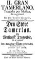 Giuseppe Sarti - Il gran Tamerlano - title page of the libretto - Kopenhagen 1764.png