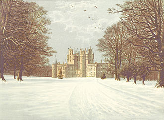 Glamis Castle - Glamis Castle in the snow, circa 1880
