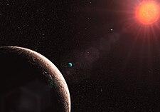 Hvězda je vidět z planety s jinou planetu v pozadí