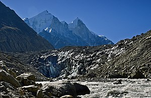 Gangotri Glacier - Gomukh, terminus of the Gangotri glacier. The Bhagirathi peaks rise in the background.