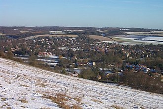 River Brent - Goring Gap, where the Thames broke through the Chilterns, seen from Lardon Chase.