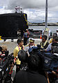 Gov. Linda Lingle speaks to the press as the Virginia-class attack submarine USS Hawaii (SSN 776) arrives at its new homeport at Naval Station Pearl Harbor, Hawaii, July 23, 2009. USS Hawaii is the first 090723-N-WP746-247.jpg