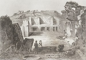 Ġgantija - Engraving of the temple made in 1848