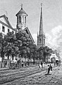 Grace and Trinity Churches, Broadway, New York, published 1831.jpg