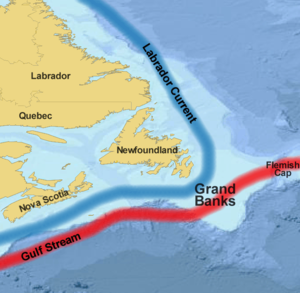 Grand Banks of Newfoundland - Map showing the Grand Banks