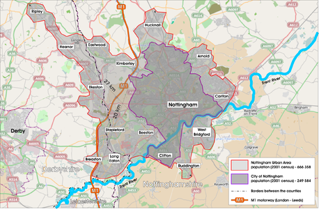 Nottingham Urban Area map.