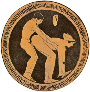 Wedding Painter - A man and a hetaera (her status indicated by the money-bag hanging from the wall) having sexual intercourse. Interior painting of a red-figure kylix, c. 480/470 BC. Spain, private collection.