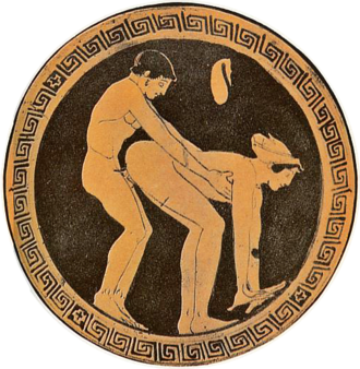 Customer and a prostitute illustrated on an ancient Greek wine cup; an act of prostitution is indicated by the coin purse above the figures Griechen31.png
