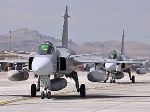Swedish Armed Forces - The Swedish multirole fighter, the Saab JAS 39 Gripen.