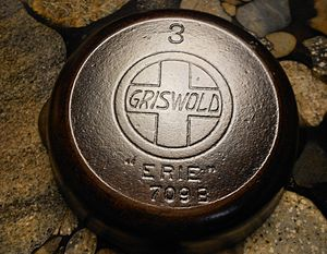 "Griswold Manufacturing - Griswold ""slant logo"" cast iron skillet, manufactured approximately 1915."