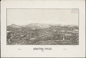Groton, Massachusetts - Lithograph of Groton from 1886 by L.R. Burleigh with list of landmarks