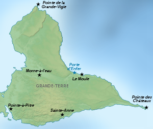 Guadeloupe Grande-Terre Places of interest map-fr.svg