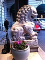HK TST Peninsula Hotel Hong Kong stone lion right hand side Oct-2012.JPG
