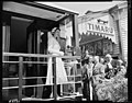 HM. Q.E. on observation platform of Royal car prior to departure at Timaru. PHOTOGRAPHER J.G. Duncan and R.A.O. Morgan DATE 25 January 1954.jpg