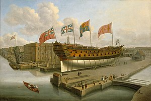 Arthur Phillip - HMS Buckingham, Phillip's first posting after joining the Navy in 1755. Vessel pictured on the stocks at Deptford Dockyard, c.1751.