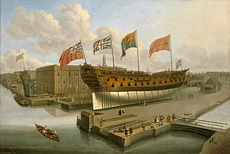Arthur Phillip - HMS Buckingham, Phillip's first posting after joining the Navy in 1755. Vessel pictured on the stocks at Deptford Dockyard, c. 1751. Painting by John Cleveley the Elder. National Maritime Museum, London.