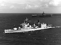 HMS Blake (C99) and USS Nimitz (CVN-68) underway in the English Channel on 4 October 1975 (K-110412).jpg