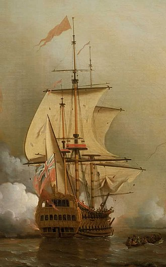 HMS Expedition (1679) - Image: HMS Expedition (ship, 1679) during Wager's Action off Cartagena, 28 May 1708 (cropped)