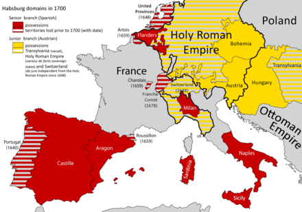 Habsburg dominions in the centuries following their partition by Charles V. Habsburg dominions 1700.png