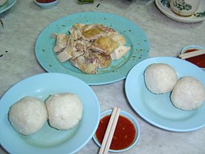 Hainanese chicken rice - Hainanese chicken rice balls in Muar, Johor, Malaysia