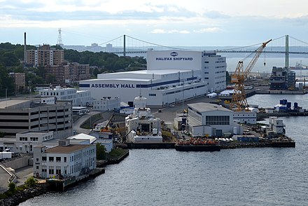 The Halifax Shipyards of Irving Shipbuilding. Irving is a major employer in Halifax. Halifax Shipyard July 2017.jpg