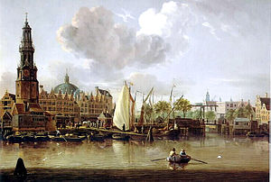Jacobus Storck - View of the Haringpakkerstoren (since demolished) and behind that the round dome of the Lutheran church on the Singel.