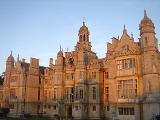 Mansion - Harlaxton Manor, England, a 19th-century meeting of Renaissance, Tudor and Gothic architecture produced Jacobethan - a popular form of historicist mansion architecture.