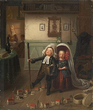 "Preacher's kid - German Pfarrerskinder (preacher's kids) play ""church,"" in a painting by Johann Peter Hasenclever, c. 1847."