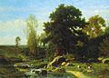 Hector Hanoteau, Bergère et son troupeau au bord du ruisseau.jpg