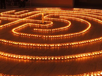 Centre for Christian Meditation and Spirituality of the Diocese of Limburg - Cretan style advent-labyrinth consists of 2,500 burning tealights inside the church in 2012