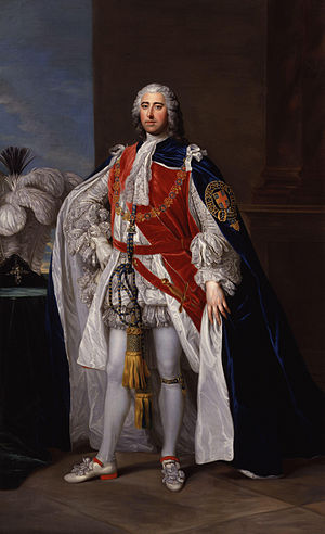 Henry Pelham-Clinton, 2nd Duke of Newcastle - Henry Fiennes Pelham-Clinton, 2nd Duke of Newcastle-under-Lyne in the robes of the Order of the Garter, by William Hoare, c. 1752.
