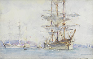 Henry Scott Tuke - Windjammers lying on their moorings as they wait for cargo in Falmouth.jpg
