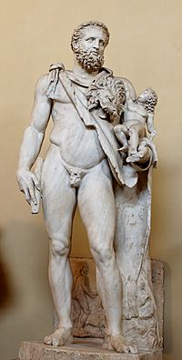 Ο Ηρακλής με τον μικρό Τήλεφο στην αγκαλιά του