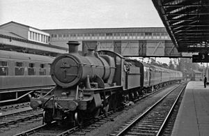 Hereford railway station - 2-6-0 on pilot duty in  1959